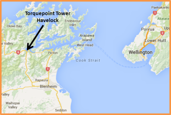 Map View of TorquePoint Tower, Havelock, Marlborough, New Zealand